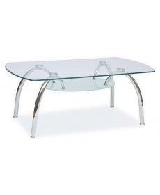 ARACHNE II dohányzóasztal 120x60x44 króm/üveg