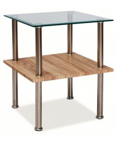 ANA dohányzóasztal 50x50 sonoma tölgy/króm/üveg